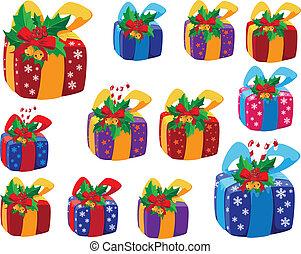 regalos, caja, conjunto, navidad