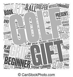 Regalos de golf y kits de agarre de golf texto texto de fondo concepto de palabra