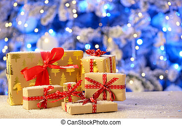 Regalos de Navidad en la mesa