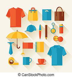 regalos, icono, conjunto, souvenirs., promocional