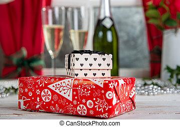 regalos, navidad, tabla