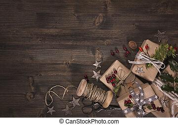 regalos, navidad, vendimia