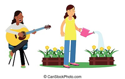 regar, conjunto, flores, tocar la guitarra, joven, vector, mujer, ilustración