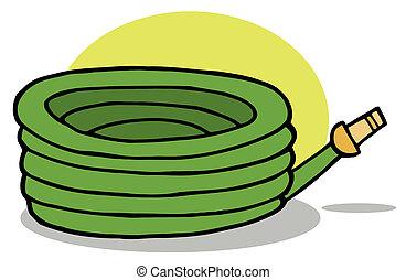 regar, verde, manguera