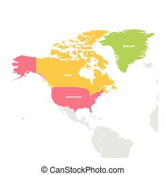 Región de Norteamérica. Un colorido mapa de países en el norte de América. Ilustración de vectores