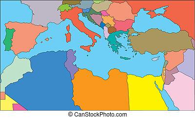 región mediterránea, países