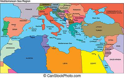 región mediterránea, países, nombres
