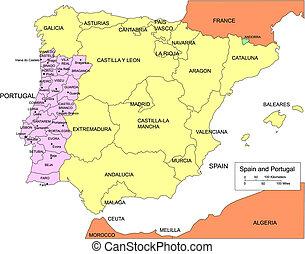 regiones, circundante, españa, portugal, países