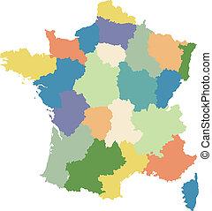 regiones, mapa, dividido, francia