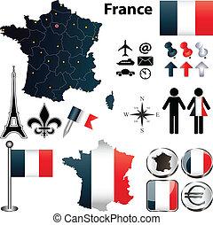 regiones, mapa, francia