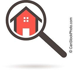 Registro de bienes raíces de una casa con lupa