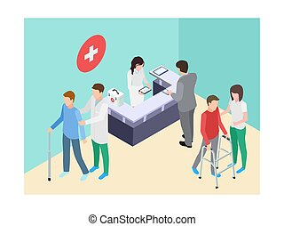 Registro de hospitales isométricos, médicos, personal y pacientes ilustración vectorial
