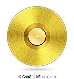 registros, blanco, disco, realista, dorado