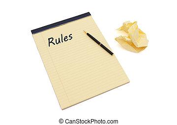 reglas, definir, su