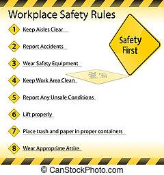 reglas, seguridad, lugar de trabajo