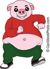 regordete, caricatura, corriente, imagen, cerdo, vector, carácter