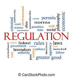 regulación, concepto, palabra, nube
