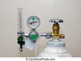 regulador, oxígeno, calibradores, tanque