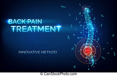 rehabilitación, clínica, tratamiento, innovador, illustration., espina dorsal, dolor, bandera, resumen, vector, método, traumatology, después, 3d, cirugía, -, lesión, espalda, imagen, orthopedist