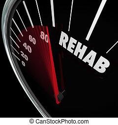 Rehabilitación de la palabra velocímetro medida de la adicción a la terapia de curación
