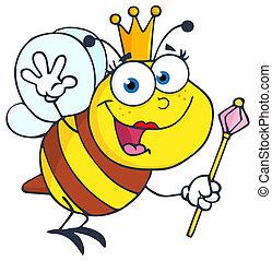 reina, saludo, ondulación, abeja
