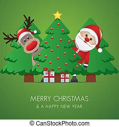 Reindeer Santa Claus árbol de Navidad