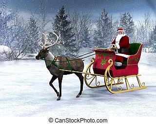 Reindeer tirando de un trineo con Santa Claus.