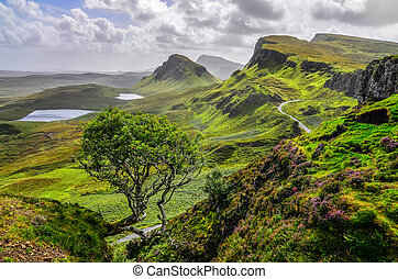 reino, montañas, quiraing, unido, escénico, skye, tierras altas escocesas, isla, vista