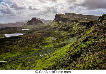 reino, montañas, quiraing, unido, skye, tierras altas escocesas, isla, paisaje, vista