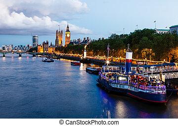 reino, puente, unido, ben, tarde, grande, westminster, londres