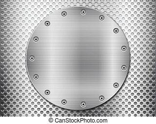 Rejilla de metal gris y placa circular