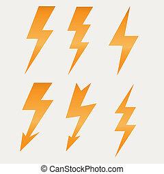 Relámpago icono plano diseño sombras largas ilustración vectorial
