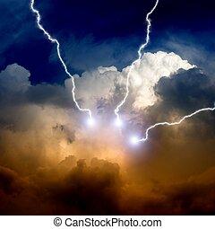 relámpagos, cielo, tempestuoso