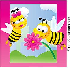 Relaciones de abejas, ilustración vectora sobre fondo rosa