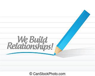 relaciones, nosotros, escrito, mensaje, construya