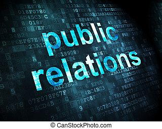relaciones, publicidad, plano de fondo, digital, público, concept: