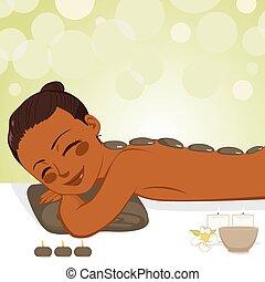 Relajante masaje de piedra
