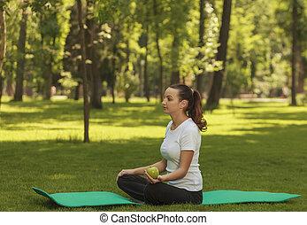 relajante, mujer, parque