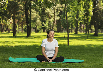 relajante, parque, mujer