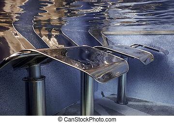 relajar, submarino, silla, piscina, balneario, agua