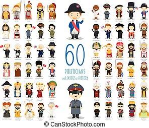 relevante, políticos, vector, líderes, 60, collection:, historia, caricatura, style., niños, conjunto, caracteres