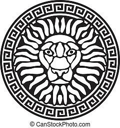 relief., retrato, meanders., león, antigüedad