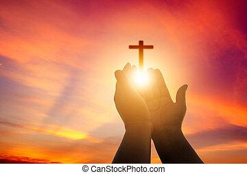 religión, lucha, pray., victoria, palma, dios, cuaresma, católico, terapia, arriba, repent, manos auxiliares, pascua, mente, fondo., concepto, eucaristía, bendecir, cristiano, abierto, humano, worship.