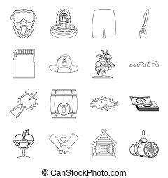 Religión, medicina, guerra y otro icono en el esquema de estilo. Viajar, alcohol, financiar iconos en conjunto.