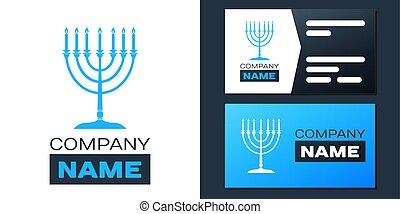 religión, menorah, element., icono, logotipo, tradicional, logotype, religión, aislado, vector, hanukkah, blanco, icon., símbolo., lights., fiesta, feriado, plantilla, fondo., diseño, judío