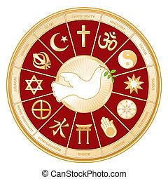 Religiones mundiales, paloma de la paz