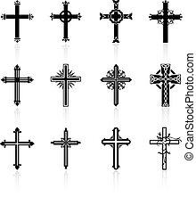 religioso, diseño, cruz, colección