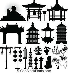 Reliquia del templo chino asiático