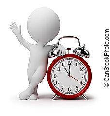 reloj, alarma, gente, -, pequeño, 3d