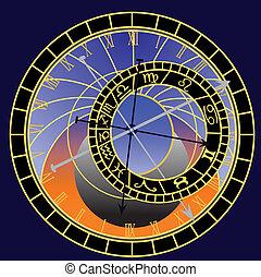 Reloj astronómico, vector